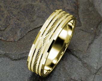Mens Wedding Band, Solid Gold Mens Ring, 6mm Ring, 14k Yellow Gold Band, Grooved Faceted Textured Mens Band, Wedding Ring, Wedding Band Mens