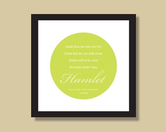 Shakespeare Literary Quote, Typography Print, Gift for Actors, Theater Gift, Love Sayings, Modern, Quotation Print, 8 x 8 or 10 x 10