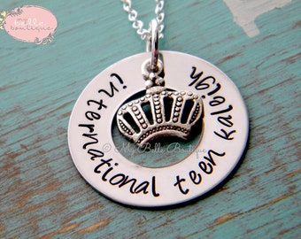 Personalized Hand Stamped Silver Tiara Necklace