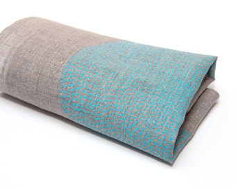 Natural linen napkin,  placemats  hand print dots light blue circles ornament ,  natural linen 100%, Eco-friendly, hand made