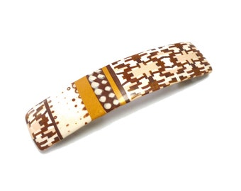 Ethnic Hair Barrette, Tribal Geometrical French Clip, chocolate gold hair clip OOAK polymer clay hair barrette Mothers day gift idea for her