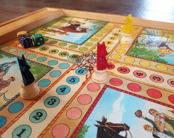 vintage wooden checkers and Parcheesi game board
