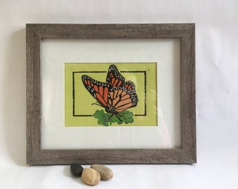Linocut print Monarch butterfly