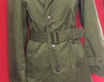 Vintage Military Trench coat army green Women's jacket
