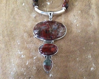 Three Tier Cherry Creek Jasper Pendant Necklace