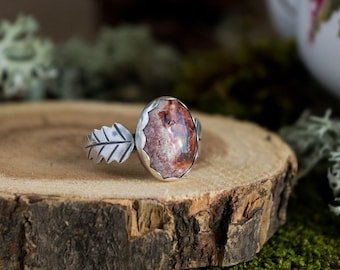 Double Oak Leaf Ring, Sterling Silver and Mexican Opal, Size 10