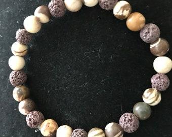 Coffee Jasper & Lava Stone Aromatherapy Stretch Bracelet