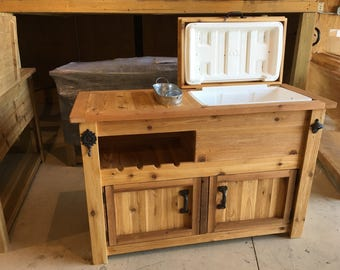 Exceptional Rustic Wooden Cooler Cabinet Is Great For A Man Cave, Outdoor Bar, Serving  Buffet