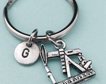 Oil rig keychain, oil rig charm, personalized keychain, initial keychain, initial charm, customized keychain, monogram