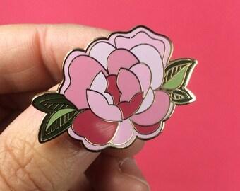 Pivoine rose en émail - printemps fleuri broche - fleur en laiton broche en or (PIN003)