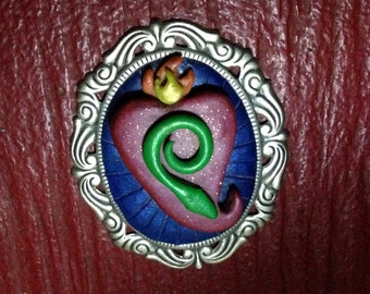 Snake Heart Pendant, Flaming Heart , Serpent,  Polymer and Metal Bezel Pendant