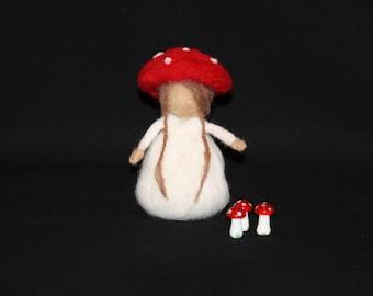 Tilly the needle felt wool woodland toadstool girl