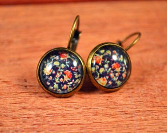 Navy Earrings, Rose Lever backs, Floral Earrings, Statement Jewelry, Statement Earrings, Classy Earrings, 12mm Jewelry, Rose Earrings