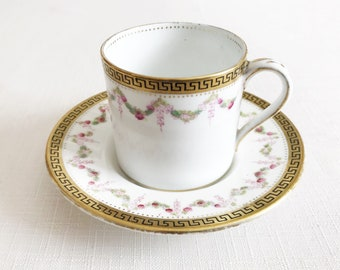 Antique coffee cup demitasse Vintage small teacup and saucer English china with a floral design cup with flowers Victorian pottery