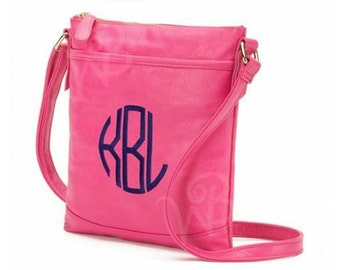 Monogrammed Leather Crossbody Purse