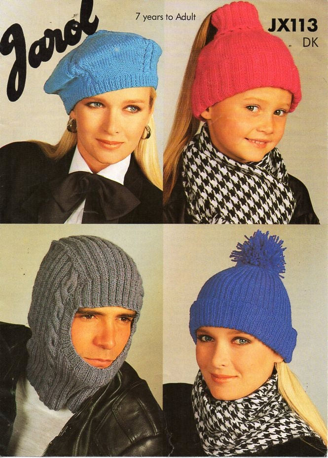 Mens Womens Childrens Hats Knitting Pattern PDF Download Beret Pony ...