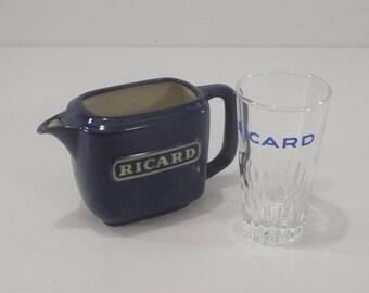 French Ricard Pastis Mini Blue Ceramic Jug and Vintage Shot Glass Set, Vintage French Barware Aperitif Set