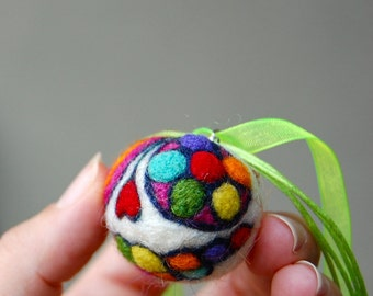 CUSTOM FOR JENNI Little Needle Felted Day of the Dead Charm Pendant on Ribbon Necklace