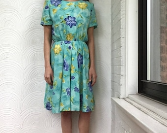 1990s Watercolor Floral Dress