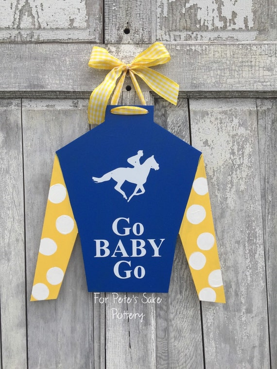 Hand painted, horse lover, Derby or Horse Farm, Jockey door hanger and party decoration