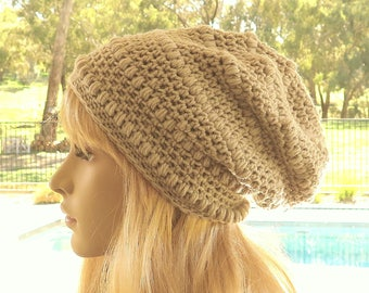 Beige Slouch Beanie, Slouchy Wool Hat, Womens Girls Winter Hat, Crochet Wool Beanie