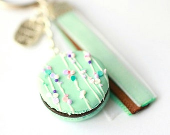 Keychain - blue Mint macaroon realistic white chocolate and colorful sprinkles
