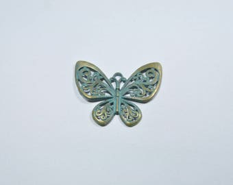 BR56 - Large Butterfly charm bronze patina