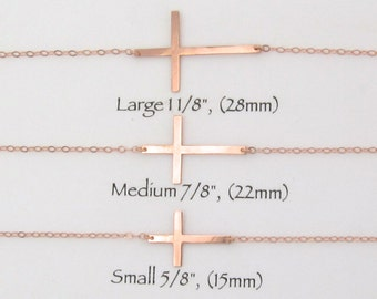 Sideways Cross Necklace In Yellow Gold, Rose Gold or Sterling Silver - Choose your Size