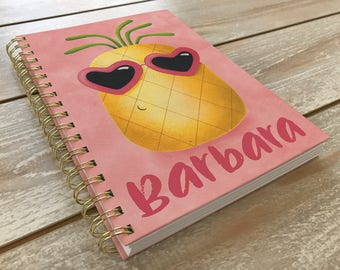 Pineapple journal / Personalized journal / Girls diary / Pineapple paintings / Pink / School notebook / Pineapple / Back to school