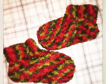Crocheted Red/Green Chenille Slipper Socks
