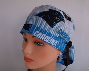 Carolina Panthers Blue fabric Ponytail - Womens lined surgical scrub cap, scrub hat, Nurse surgical cap, F-100w