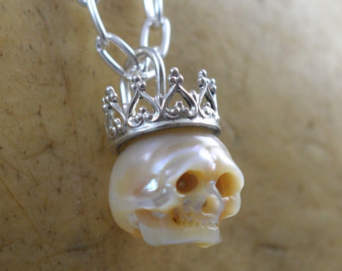 Featured listing image: Carved Full Pearl Skull Wearing Sterling Silver Crown - Gift -  Christmas Necklace - Skull Jewelry - Pearl Skull - June Birthstone