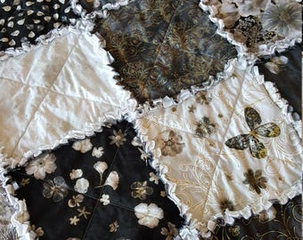 Floral Impressions Medium Rag Quilt Throw - Charcoal, Gray, Black and White