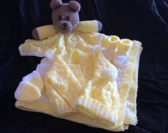 Teddy Comforter, Blanket and Matinee Set (can be done in any colours - also personalised if needed)