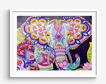 Rainbow Elephant Front Facing Pencil and Ink Colors