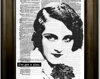 Flapper Art Print 8 x 10 Dictionary Page - Pop Art Deco Woman - I've Got a Plan - Word Art - Mysterious 1920's Jazz Age