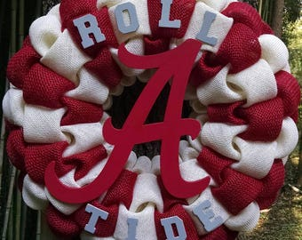 Roll Tide!  Alabama Crimson Tide Burlap Wreath