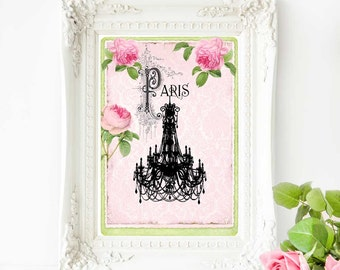 Chandelier French art print, silhouette with pink roses, romantic Paris vintage home decor, A4 giclee