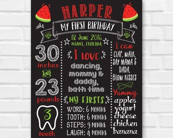 First Birthday Chalkboard Sign, Watermelon First Birthday Board, 1st Birthday Chalkboard, Watermelon Birthday Board, Second birthday Sign