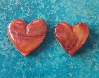 Orange Spiny Oyster Shell Heart Cabochon Pair/ backed