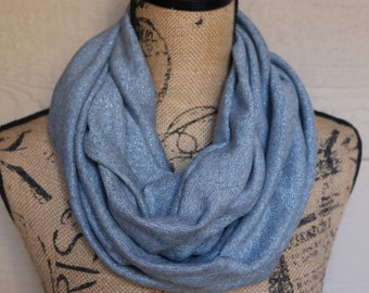Blue with blue metallic streaks infinity scarf