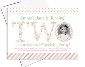 Little girl birthday invitations | Floral second birthday invitation for girls | pink, green, peach, coral | printable or printed - WLP00308