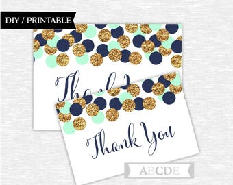 Thank you cards notes mint navy gold thank you cards Confetti Thank You cards Thank You notes Birthday party Baby shower ( CON205)
