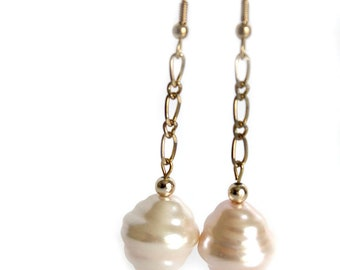 Pale pink and gold chain earrings