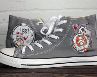 Handmade BB-8 StarWars inspired converse Gray