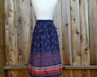 70s floral skirt, A-line skirt, boho, high waisted, vintage skirt, 1970s fashion, novelty skirt, rayon, midi skirt, tea length, size 6