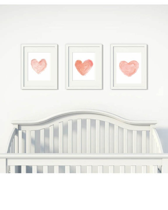 Coral Heart Print Trio, Set of 3 - 8x10 Watercolor Prints for Nursery