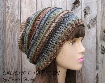 CROCHET PATTERN - Slouchy  Hat, Crochet Pattern PDF,Easy, Pattern No. 30