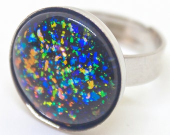 Flake Off - black and multichrome color changing rainbow flakie adjustable silver ring