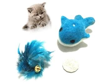 Catnip Whale & Feather Ball Cat Toys, Needle Felted Cat Toys, Catnip Cat Toys with Bells, Cat Things, Cat Novelties, Felt Catnip Cat Toys